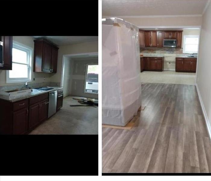 before and after kitchen flood from a dishwasher leak