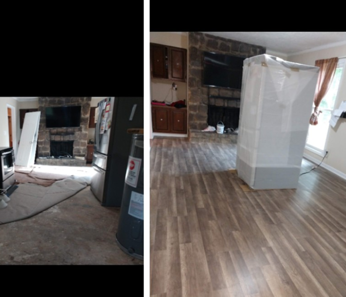 before and after of living room floor after a flood