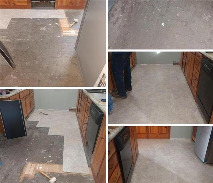 kitchen floor remodel after dishwasher leak